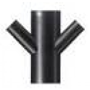Reduktie T-stuk HDPE op 45° ZWART dubbel